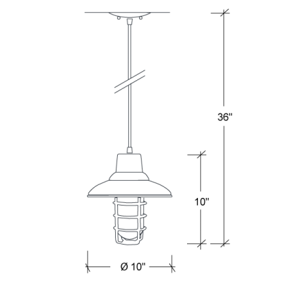 "industrial RLM with Grid & Glass in 36"" wire"
