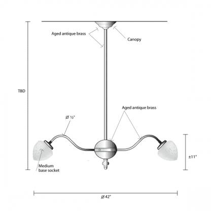 Chandelier contemporain dimensions