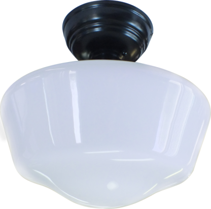 "milk glass schoolhouse lighting 16"" direct ceiling"